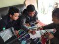 Meeting der Projektleiter und dem Ingenieur an der Shree Bhumiraj Schule
